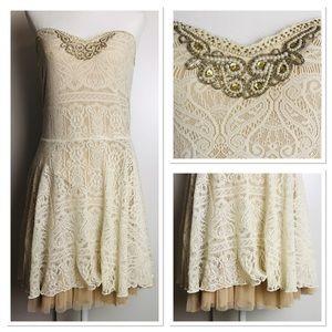 FP Sz. L Beaded Collar Cream Lace Lined Tube Dress